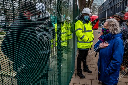 Editorial photo of Dame Jenny Jones of the Green Party visits as the anti HS2 Extinction Rebellion camp continues to be cleared by Bailiffs at Euston Station., Euston Station, London, UK - 31 Jan 2021