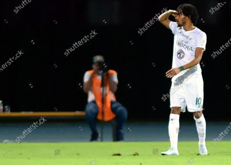 Al-Ahli's player Salman Al-Muwashar celebrates scoring a goal during the Saudi Professional League soccer match between Al-Ahli and Al-Batin at King Abdullah Sport City Stadium, 30 kilometers north of Jeddah, Saudi Arabia, 31 January 2021.