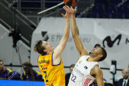Walter Samuel Tavares da Veiga of Real Madrid and Olek Balcerowski of Herbalife Gran Canaria in action  during the Liga ACB basketball match played between Real Madrid and Herbalife Gran Canaria at WiZink Center stadium on January 31, 2021 in Madrid, Spain.