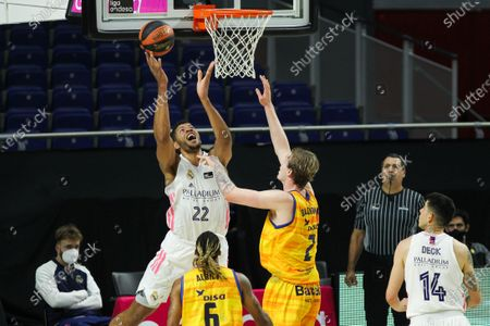 Stock Image of Walter Samuel Tavares da Veiga of Real Madrid and Olek Balcerowski of Herbalife Gran Canaria in action during the Liga ACB basketball match played between Real Madrid and Herbalife Gran Canaria at WiZink Center stadium on January 31, 2021 in Madrid, Spain.