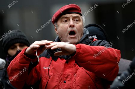Guardian Angels founder Curtis Sliwa, speaks to the media at Zuccotti Park in lower Manhattan in New York, New York, USA, 31 January 2021. Demonstrators came to protest actions by hedge funds and other financial institutions that undermined the Reddit-fueled populist purchases of GameStop stock this week.