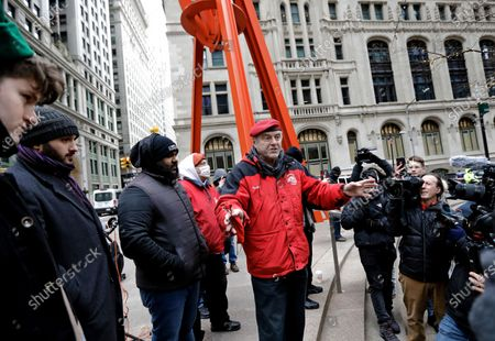 Stock Image of Guardian Angels founder Curtis Sliwa, speaks to the media at Zuccotti Park in lower Manhattan in New York, New York, USA, 31 January 2021. Demonstrators came to protest actions by hedge funds and other financial institutions that undermined the Reddit-fueled populist purchases of GameStop stock this week.