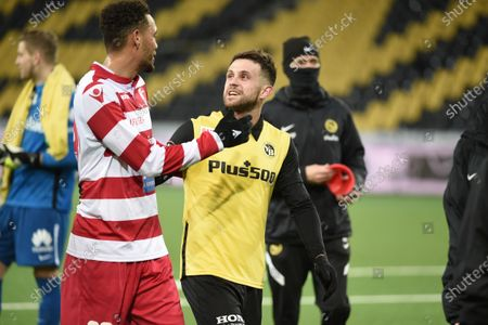 Stock Image of Guillaume Hoarau (Sion) in conversation with # 10 Miralem Sulejmani (Young Boys).