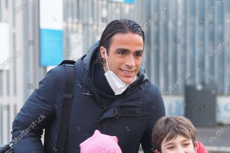 """Serie A football league match between Atalanta and Lazio, after match Lazio dirigent Alessandro Matri outside the """"Gewiss Stadium"""" takes the photos with nice children."""