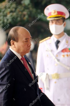 Vietnam's Prime Minister Nguyen Xuan Phuc arrives to the National Convention Center for the closing ceremony of the 13th National Congress of the Communist Party of Vietnam, in Hanoi, Vietnam, 01 February 2021.