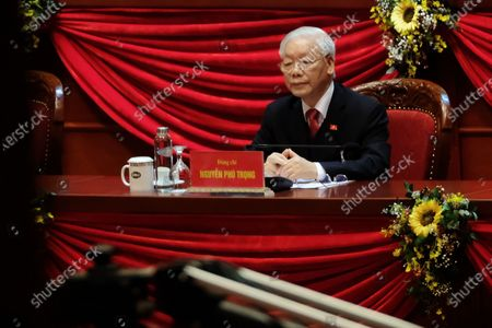 Newly re-elected Vietnam Communist Party Secretary General Nguyen Phu Trong looks on ahead the closing ceremony of the 13th National Congress of the Communist Party of Vietnam, at National Convention Center, in Hanoi, Vietnam, 01 February 2021.