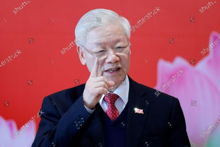 Newly re-elected Vietnam Communist Party Secretary General Nguyen Phu Trong speaks during a press conference after the closing ceremony of after the 13th National Congress of the Communist Party of Vietnam, in Hanoi, Vietnam, 01 February 2021.