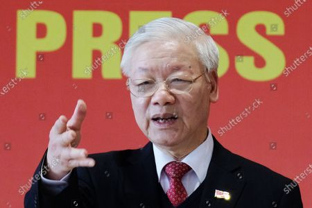Newly re-elected Vietnam Communist Party Secretary General Nguyen Phu Trong speaks during a press conference after the closing ceremony of the 13th National Congress of the Communist Party of Vietnam, in Hanoi, Vietnam, 01 February 2021.