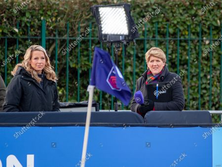 Stock Image of Clare Balding & Rachel Brown-Finnis of BT Sports pre game
