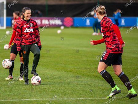Leah Galton (#11 Man Utd) & Jane Goldman (#19 Man Utd) at ease during warm up pre game