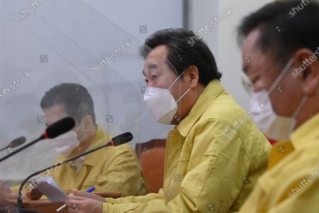 Lee Nak-yon (C), head of the ruling Democratic Party, strongly denies allegations that the Moon Jae-in government attempted to help North Korea build a nuclear power plant during the party's leadership meeting at the National Assembly in Seoul, South Korea, 01 February 2021.