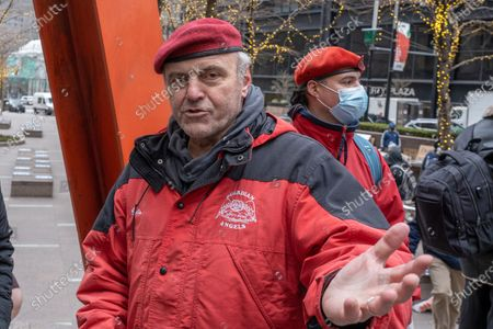 """Curtis Sliwa, candidate for NYC Mayor, attends the Re-Occupy Wall Street protest over the GameStop stock controversy in Zuccotti Park. Members of the New York Young Republicans Club gathered in Manhattan's Zuccotti Park to protest against the big-money Wall Street hedge-fund managers for moving to stop last week's """"little guy"""" Reddit-fueled run on the video-game-seller's stock to shore it up after the money men bet on it tanking."""