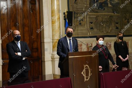 Leader of Italia Viva party Matteo Renzi with the members of delegation Davide Faraone, Teresa Bellanova and Maria Elena Boschi during the press conference after the consultations with the President of the Chamber of Deputies