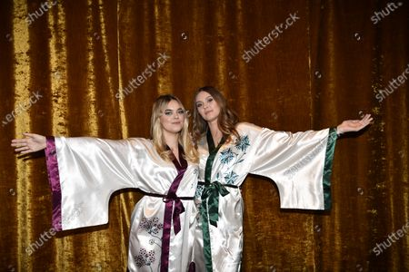 """Stock Image of First Aid Kit, Klara Soderberg and Johanna Soderberg, at the """"Don't Stop the Music"""" gala in Stockholm, Sweden, on January 30, 2021, organized by the Swedish Music Foundation to support everyone in the music industry who has been affected by the coronavirus pandemic."""