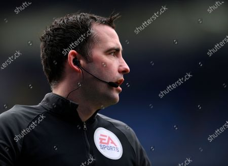 Referee Chris Kavanagh during the English Premier League soccer match between Leicester City and Leeds United at the King Power Stadium in Leicester, England