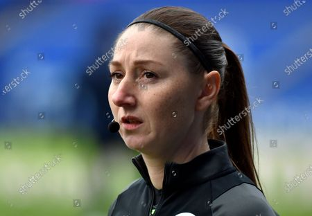 Referee assistant Sian Massey-Elli before the English Premier League soccer match between Leicester City and Leeds United at the King Power Stadium in Leicester, England