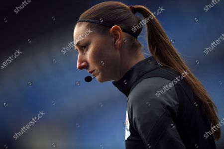 Referee assistant Sian Massey-Elli during the warm up before the English Premier League soccer match between Leicester City and Leeds United at the King Power Stadium in Leicester, England
