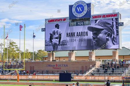 """Henry """"Hank"""" Aaron, who was born in Mobile, is remembered during the NCAA Senior Bowl college football game in Mobile, Ala"""