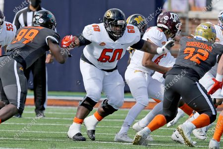 American Team offensive lineman David Moore of Grambling State (FCS) (60) during the first half of the NCAA college football Senior Bowl in Mobile, Ala