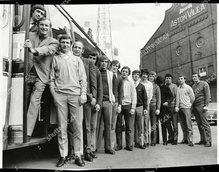 Stock Photo of Aston Villa F.c. Players About To Board The Team Bus Outside Villa Park: L-r Brian Godfrey (died February 2010) Dave Gibson Bruce Rioch Andy Lochhead Brian Tiler John Dunn Fred Turnbull Brown John Wright Pat Mcmahon Ian Hamilton Dave Anderson Charlie Aitken Keith Bradley And Lawson Chatterley. The Captain George Curtis Is Missing From The Picture. . Rexmailpix.