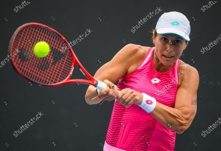 United States' Varvara Lepchenko makes a backhand return to Japan's Mayo Hibi during a tuneup tournament ahead of the Australian Open tennis championships in Melbourne, Australia