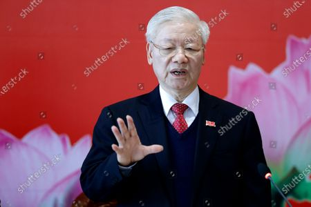 Newly re-elected Vietnam Communist Party General Secretary Nguyen Phu Trong speaks during a press conference at the closing ceremony of after the 13th National Congress of the Communist Party of Vietnam, in Hanoi, Vietnam . Vietnam's Communist Party on Sunday reelected Nguyen Phu Trong to be its chief, the state Vietnam News Agency reported. His selection makes him the nation's de facto leader for a third five-year term