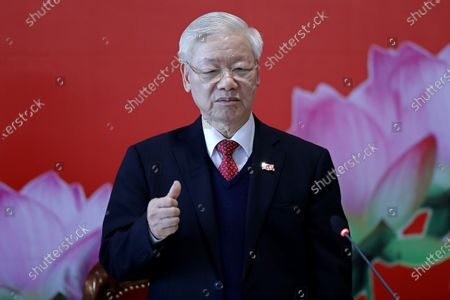 Newly re-elected Vietnam Communist Party General Secretary Nguyen Phu Trong speaks during a press conference at the closing ceremony of after the 13th National Congress of the Communist Party of Vietnam, in Hanoi, Vietnam