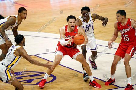 Texas Tech forward Marcus Santos-Silva (14) and LSU forward Josh LeBlanc Sr. (11) in the first half of an NCAA college basketball game in Baton Rouge