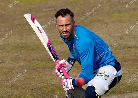 South Africa's Faf du Plessis bats during a practice session at the Pindi Stadium, in Rawalpindi, Pakistan, . Pakistan and South Africa will play their second cricket test match in Rawalpindi, starting on Feb. 4