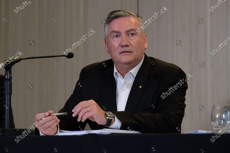 Stock Image of Collingwood President Eddie McGuire speaks to the media in Melbourne, Victoria, Australia, 01 February 2021. An independent investigation has found Collingwood guilty of 'systemic racism' and recommended significant changes to ensure the AFL club eliminates that 'toxic' culture.