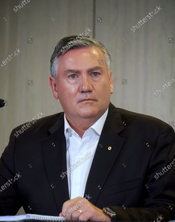 Collingwood President Eddie McGuire speaks to the media in Melbourne, Victoria, Australia, 01 February 2021. An independent investigation has found Collingwood guilty of 'systemic racism' and recommended significant changes to ensure the AFL club eliminates that 'toxic' culture.