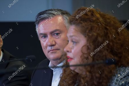 Collingwood President Eddie McGuire (L) and Collingwood football Club Board Member Jodie Sizer speak to the media in Melbourne, Victoria, Australia, 01 February 2021. An independent investigation has found Collingwood guilty of 'systemic racism' and recommended significant changes to ensure the AFL club eliminates that 'toxic' culture.