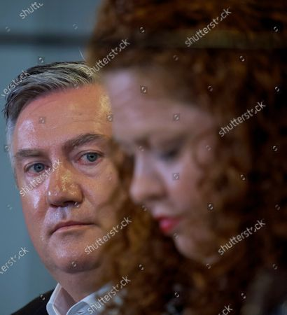 Stock Picture of Collingwood President Eddie McGuire (L) and Collingwood football Club Board Member Jodie Sizer speak to the media in Melbourne, Victoria, Australia, 01 February 2021. An independent investigation has found Collingwood guilty of 'systemic racism' and recommended significant changes to ensure the AFL club eliminates that 'toxic' culture.