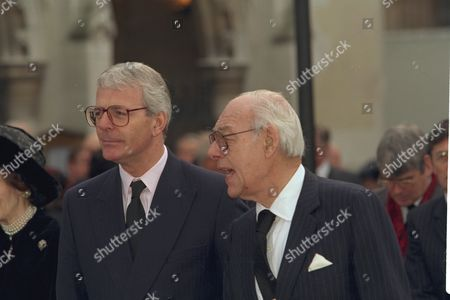 The Funeral Of Enoch Powell At Saint Margaret's Church Westminster.r.john Major And Denis Thatcher Are Pictured Outside The Church.