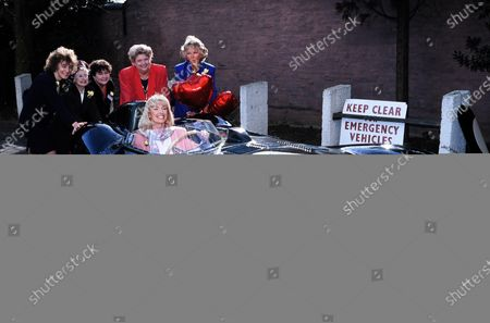 Claire Rayner, Diana Moran and Molly Weir in car c.1992