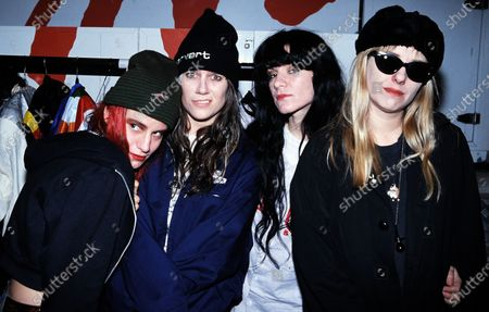 L7 - Members include Suzi Gardner (vocals, guitar), Donita Sparks (vocals, guitar), Dee Plakas (drums, vocals) and Jennifer Finch (bass, vocals) c.1992