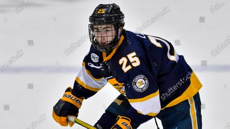Canisius forward Matt Long (25) plays against RIT during an NCAA hockey game on in Rochester, N.Y