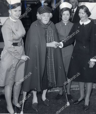 Actress Dame Margaret Rutherford Shakes Hands With Matron Miss K Rolfe On Leaving Hospital. . Rexmailpix.