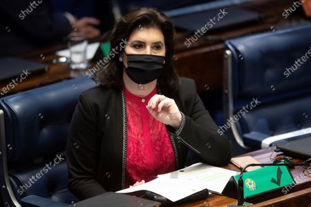 Stock Image of The presidential candidate for the Federal Senate, Senator Simone Tebet, participates in the vote for Parliament in the Full Senate, in the National Congress, in Brasilia, Brazil, 01 February 2021. The renewal of the Parliament's directive may reinforce the pressures for an impeachment against President Bolsonaro or bury them almost definitively, which is what the Government is strongly committed to. The launch of a process with a view to the dismissal of a ruler depends, according to the country's Constitution, on the president of the Chamber of Deputies, a position that until now has been held by the center-right opponent Rodrigo Maia, who leaves almost 70 requests for impeachment against Bolsonaro pending a response.