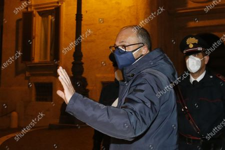 Deputy of 'Italia Viva' party Davide Faraone (C) enters at Montecitorio Palace for the meeting of the working table convened by the President of the Chamber of Deputies, Roberto Fico, as part of the consultations, Rome, Italy, 01 February 2021. Consultations are held on Italy's government crisis with the political parties represented in parliament after Premier Conte quit on 26 January as the executive no longer had an absolute majority in the Senate.