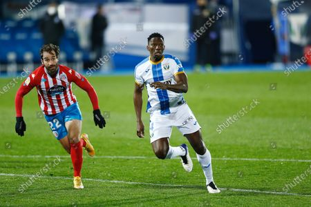 "(L-R) Eduard Campabadal (Lugo), Kenneth Omeruo (Leganes) - Football / Soccer : Spanish ""La Liga Smartbank"" match between CD Leganes 3-2 CD Lugo at the Estadio Municipal de Butarque in Leganes, Spain."
