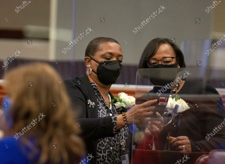 Assemblywomen Claire Thomas, left and Daniele Monroe-Moreno during the first day of the 81st session of the Nevada Legislature in Carson City on