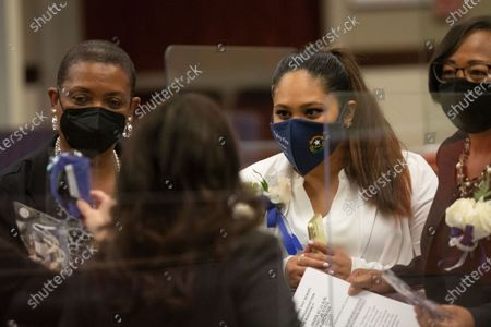 From left, Assemblywomen Claire Thomas, Cecelia González and Daniele Monroe-Moreno during the first day of the 81st session of the Nevada Legislature in Carson City on