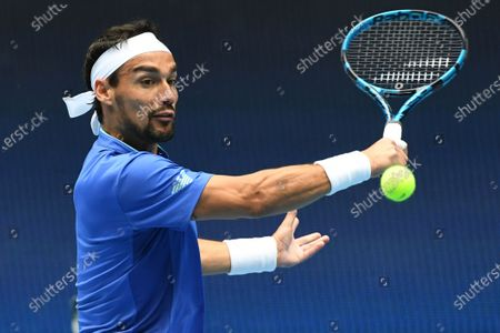 Fabio Fognini of Italy in action against Dennis Novak of Austria during the ATP Cup at Melbourne Park in Melbourne, Australia, 02 February 2021.