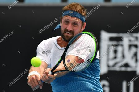 Tennys Sandgren of the USA in action during Round 1 Great Ocean Road Open - ATP 250 tennis match against John-Patrick Smith of Australia at Melbourne Park in Melbourne, Australia, 02 February 2021.