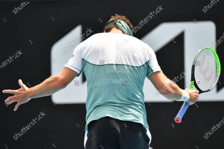 Tennys Sandgren of the USA reacts during the Round 1 Great Ocean Road Open - ATP 250 tennis match against John-Patrick Smith of Australia at Melbourne Park in Melbourne, Australia, 02 February 2021.
