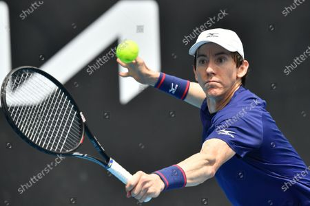 John-Patrick Smith of Australia in action during the Round 1 Great Ocean Road Open - ATP 250 tennis match against Tennys Sandgren of the USA at Melbourne Park in Melbourne, Australia, 02 February 2021.