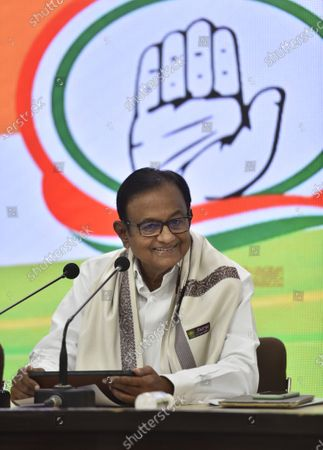 Stock Photo of Congress leader P. Chidambaram addressing a press conference on Budget 2021-22 at AICC Headquarters, on February 1, 2021 in New Delhi, India.