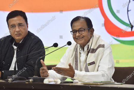 Stock Picture of Congress leaders P. Chidambaram and Randeep S. Surjewala addressing a press conference on Budget 2021-22 at AICC Headquarters, on February 1, 2021 in New Delhi, India.