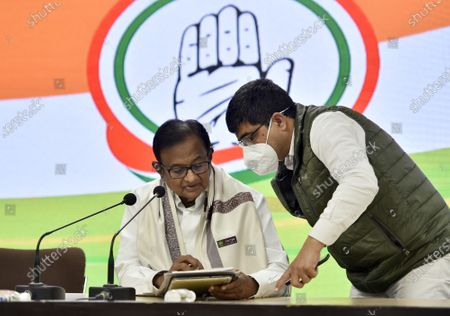 Stock Image of Congress leader P. Chidambaram during a press conference on Budget 2021-22 at AICC Headquarters, on February 1, 2021 in New Delhi, India.